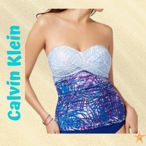 Calvin Klein Twist-Front Bandeau Tankini Top